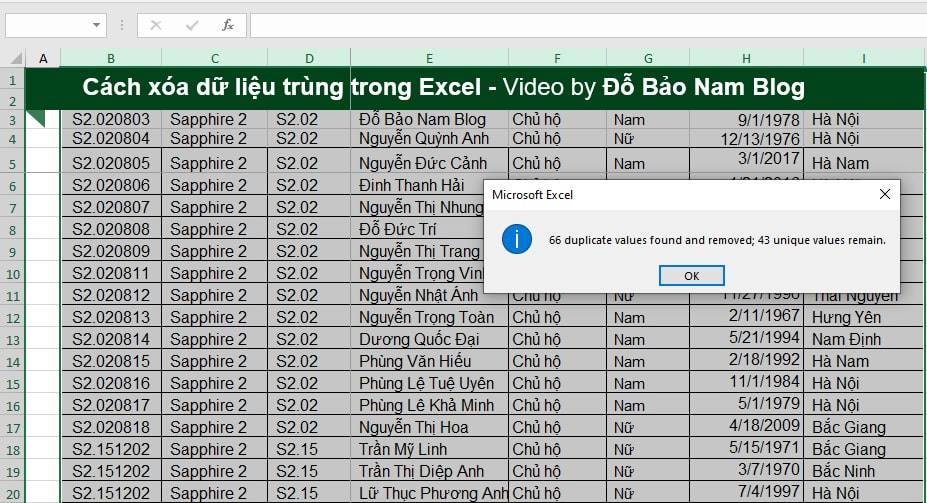 Cách xóa dữ liệu trùng nhau trong Excel bằng Remove Duplicates