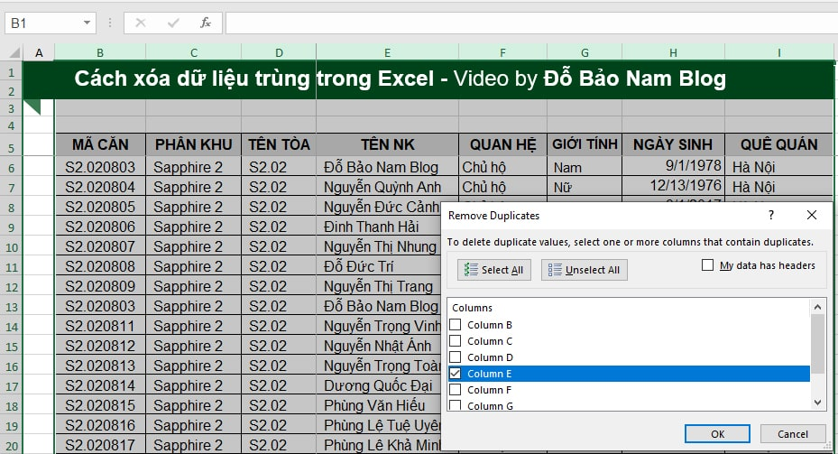 Cách xóa dữ liệu trùng nhau trong Excel bằng chức năng Remove Duplicates