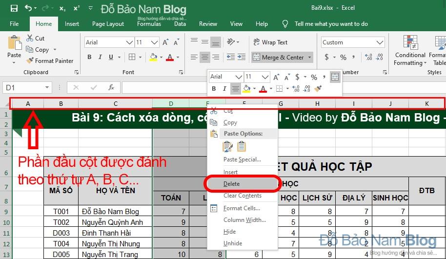 Cách xóa cột trong Excel
