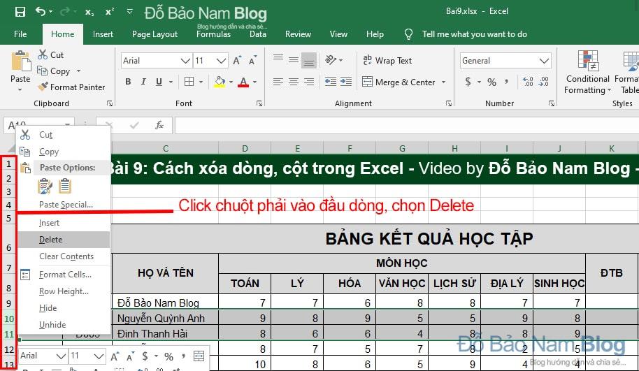 Cách xóa dòng trong Excel