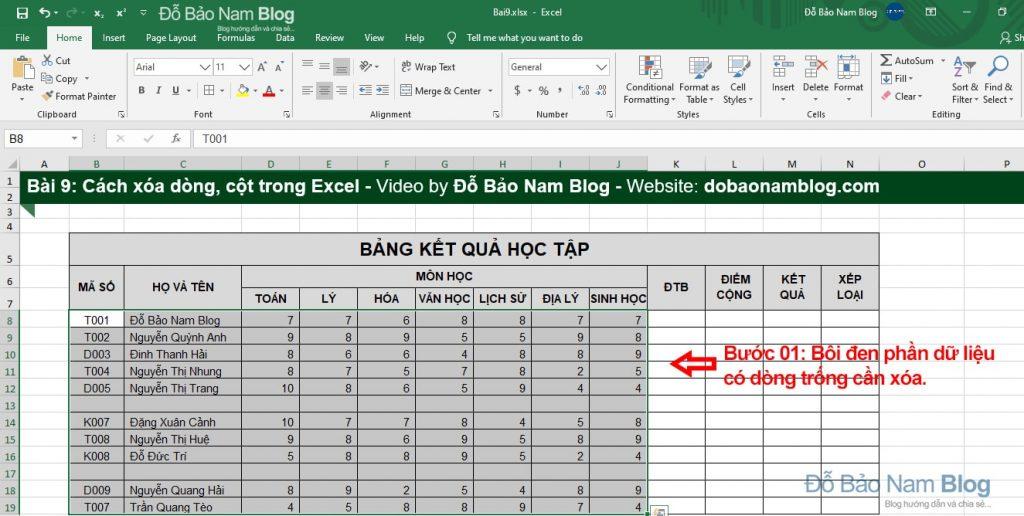 Cách xóa dòng trống trong Excel - Bước 01