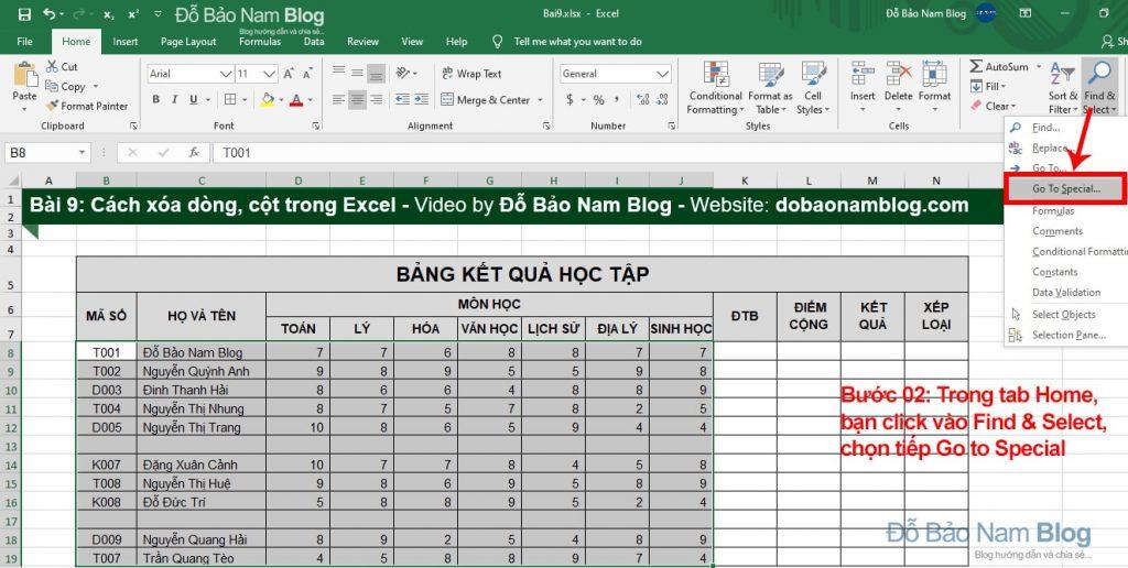 Cách xóa dòng trống trong Excel - Bước 02
