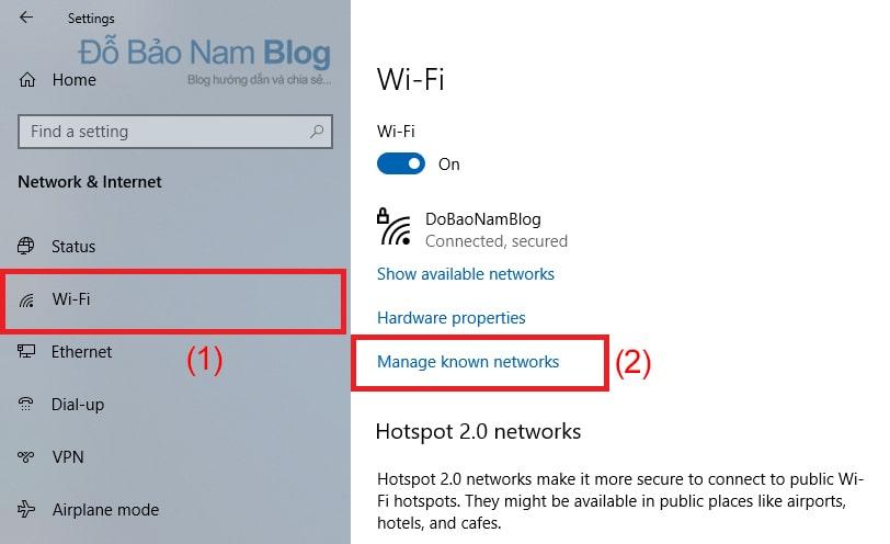 Chọn Wifi ở menu trái. Sau đó, click chọn Manage Known networks.