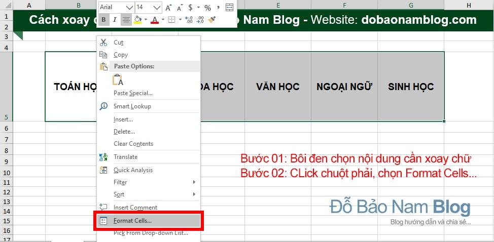 Cách xoay chữ trong Excel 01: Click chuột phải chọn Format Cells