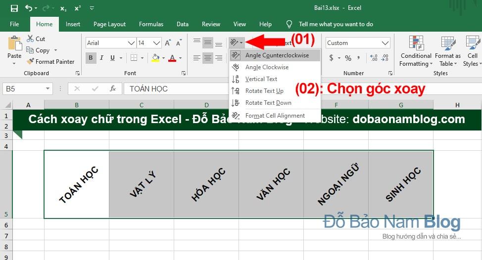 Cách xoay chữ trong Excel 02: Thao tác nhanh trên thanh Riboon