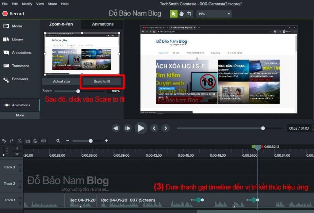 Cách tạo hiệu ứng zoom video trong camtasia