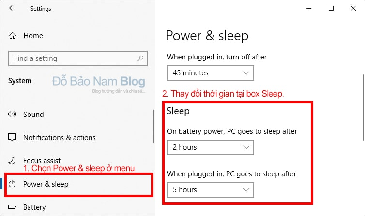 Then click Power & sleep to enter the sleep mode settings Win 10