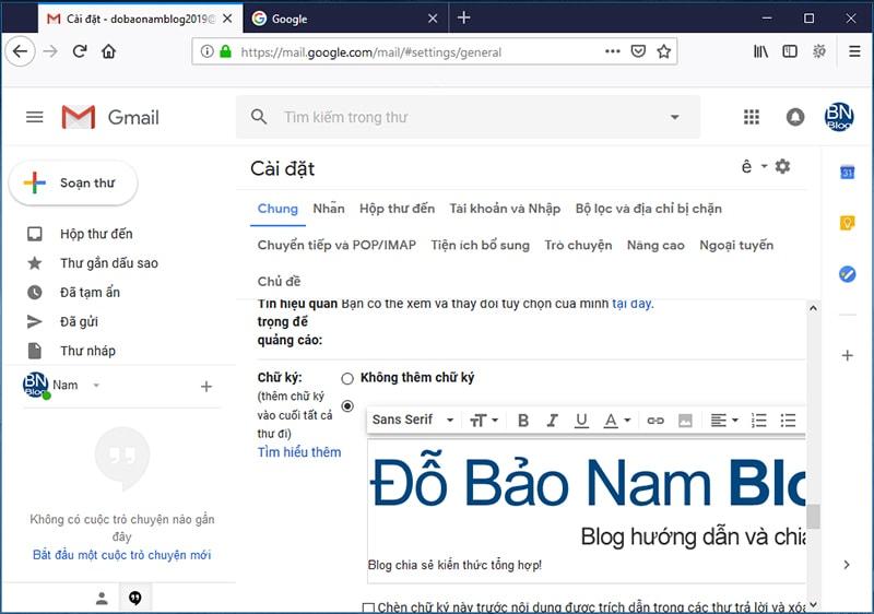 Hướng dẫn cách tạo tài khoản Gmail Google mới nhất - cào đặt chữ ký gmail