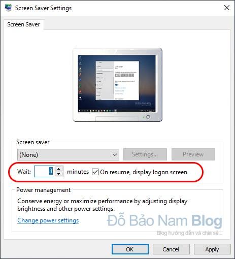 Cách cài đặt khóa màn hình máy tính Win 10 tự động - Bước 03