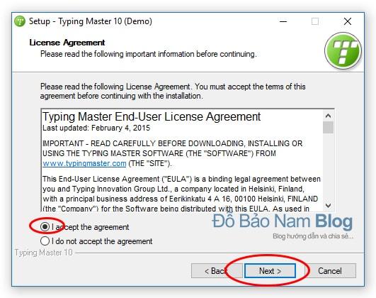Hướng dẫn cài đặt phần mềm Typingmaster Pro - Tick i accept the agreement