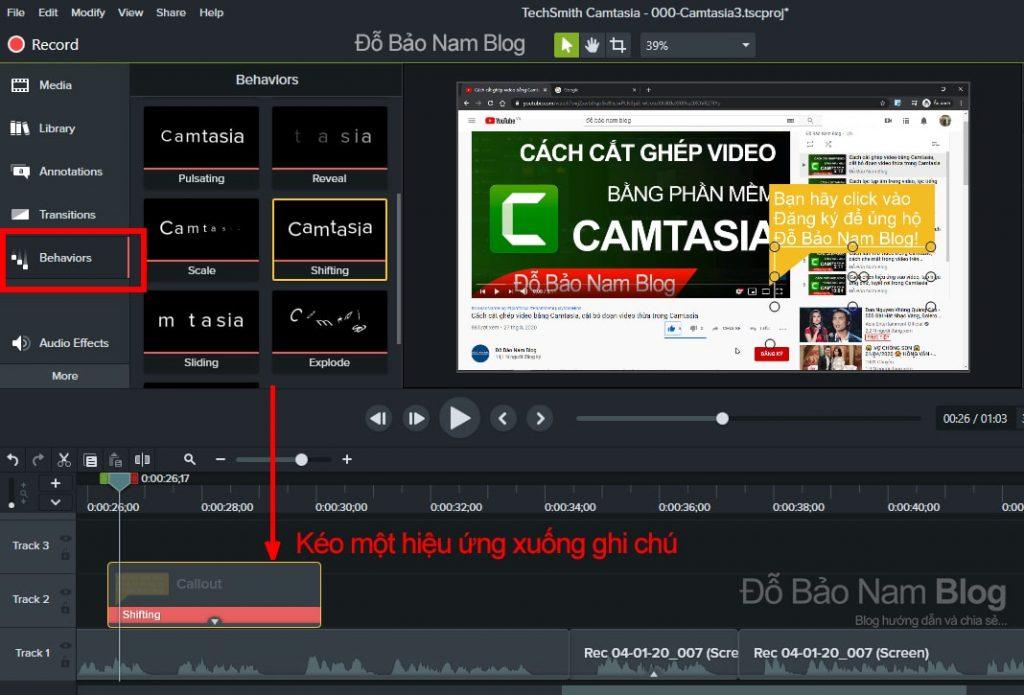 Cách tạo hiệu ứng cho ghi chú trong Camtasia
