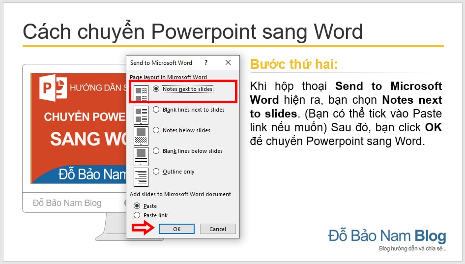Instructions on how to convert Powerpoint to Word through illustrations - B2