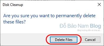 Xác nhận xóa file rác ổ C Win 10