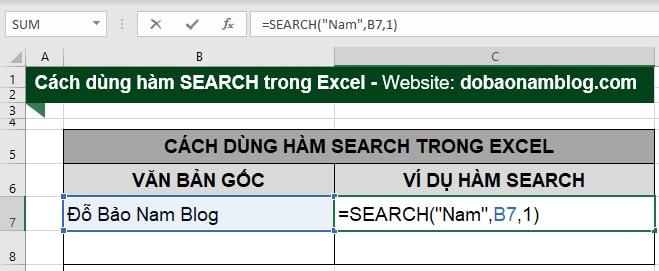 Cách sử dụng hàm Search trong Excel độc lập