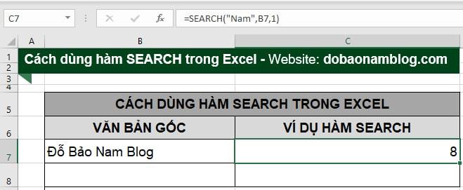 Cách dùng hàm search trong Excel - Ví dụ 1