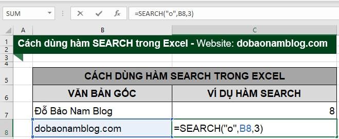 Cách dùng hàm Search trong Excel trong trường hợp đối số start_num lớn hơn 1