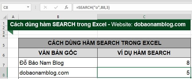 """Và kết quả chữ """"o"""" thứ hai trong tên miền dobaonamblog.com nằm ở vị trí thứ 5."""