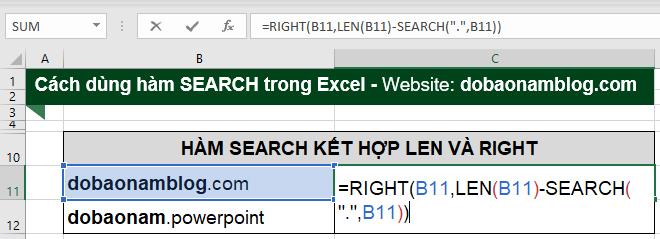 Hàm Right kết hợp Search và Len