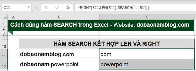 Kết quả khi sử dụng kết hợp giữa hàm Right, Search, Len.