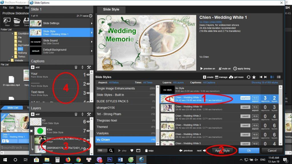Hướng dẫn sử dụng các style wedding Proshow Producer của Vũ Chiến -1