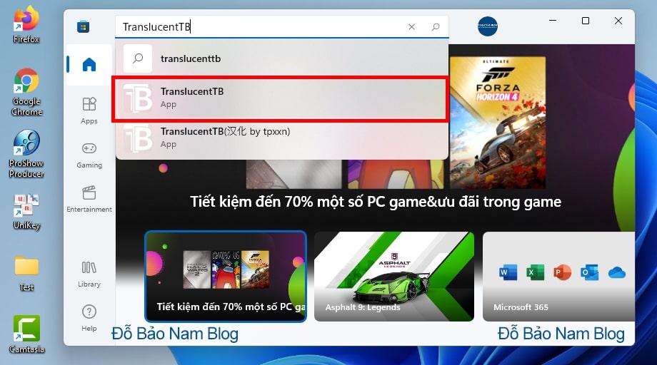 Đầu tiên, bạn hãy tải ứng dụng TranslucentTB trên Store
