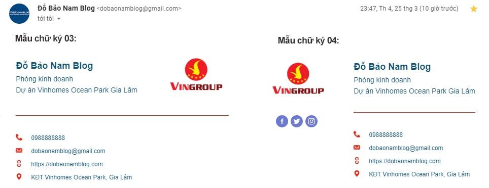 Mẫu chữ ký Gmail chuyên nghiệp tạo bởi Đỗ Bảo Nam Blog (02 mẫu thứ hai)