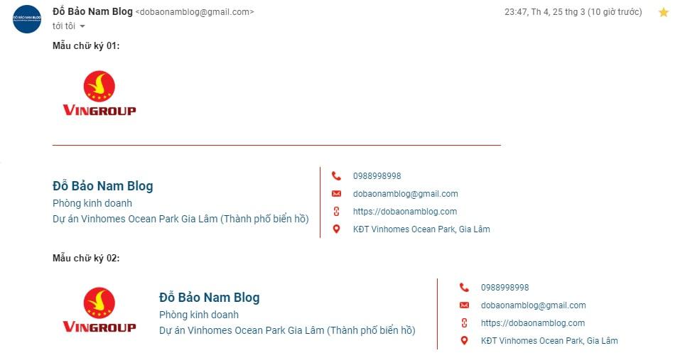 Mẫu chữ ký Gmail chuyên nghiệp tạo bởi Đỗ Bảo Nam Blog (02 mẫu thứ nhất)