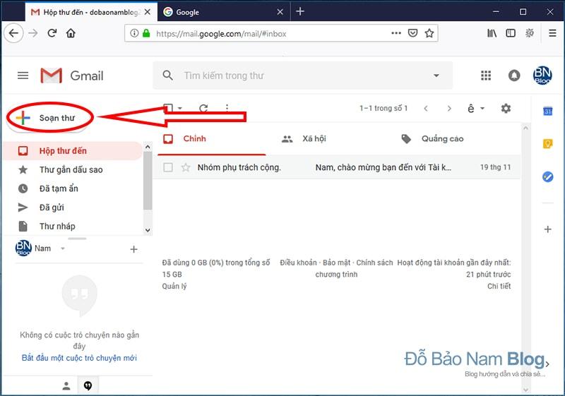 Cách gửi email Gmail Google trên giao diện mới