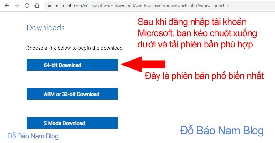 Đăng nhập tài khoản Microsoft để tải ứng dụng PC Health