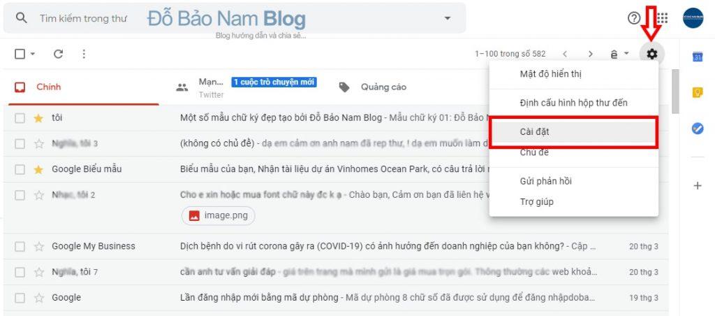 Click vào cài đặt trong Gmail để tạo chữ ký Gmail