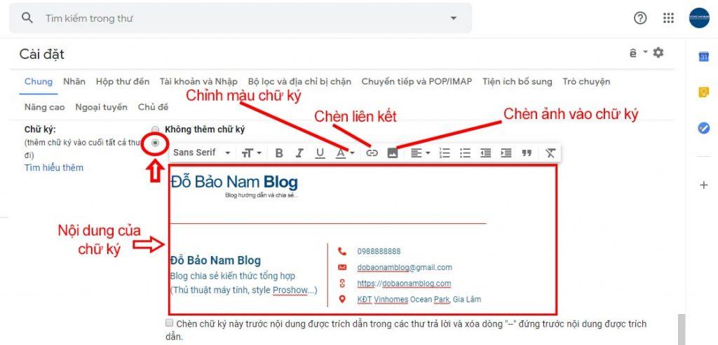 Viết nội dung cho chữ ký để tạo chữ ký Gmail