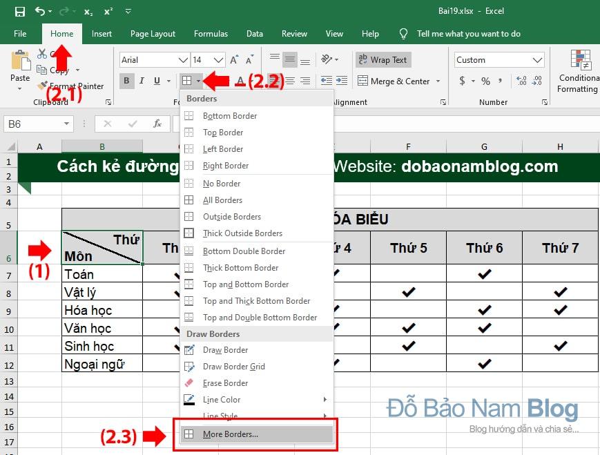 Chọn ô cần kẻ chéo. Click vào icon Borders trong tab Home (box Font), chọn More Borders.