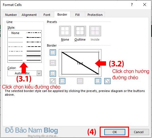 Cách tạo đường kẻ chéo trong Excel (Bước 02)