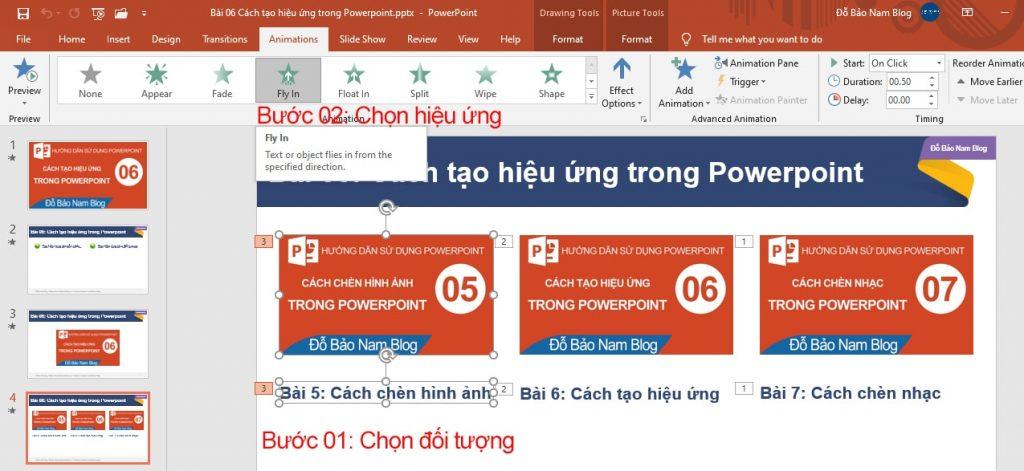 Cách tạo hiệu ứng cho đối tượng trong Powerpoint