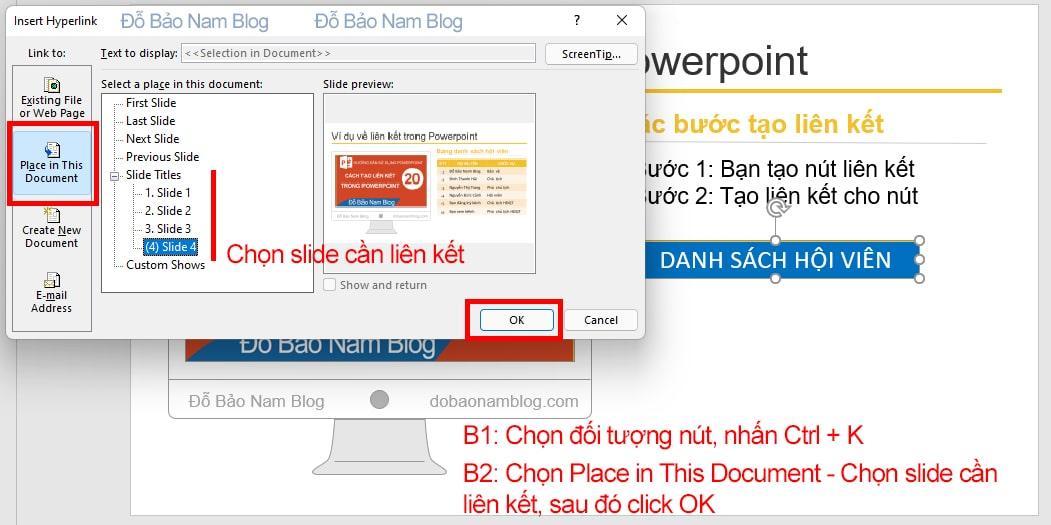 Cách tạo liên kết giữa các slide trong Powerpoint