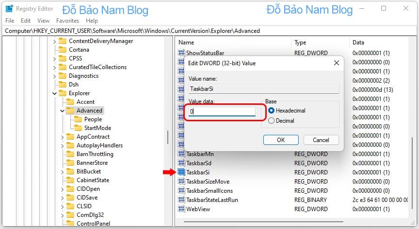 Bạn click đúp vào file vừa tạo, sau đó chỉnh thông số Value data.