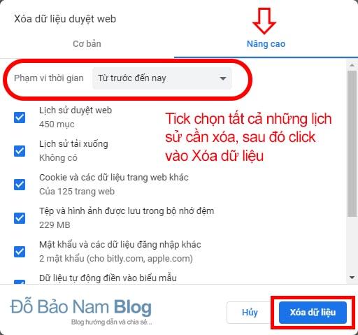 Cách xóa lịch sử web trên Google Chrome